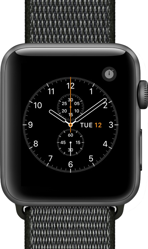 Imagen a tamaño real de  Apple Watch Series 3 (42mm) .