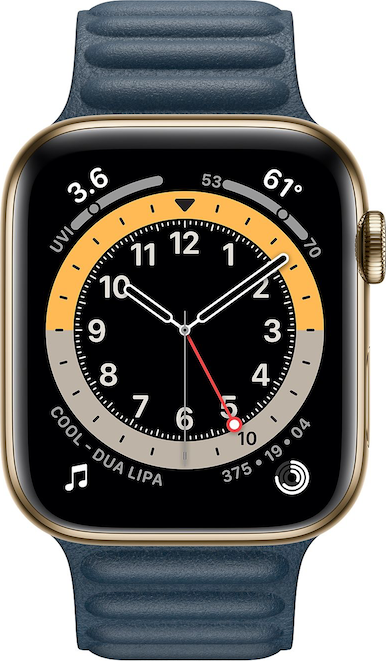 实际尺寸图像 Apple Watch Series 6 (44mm) 。