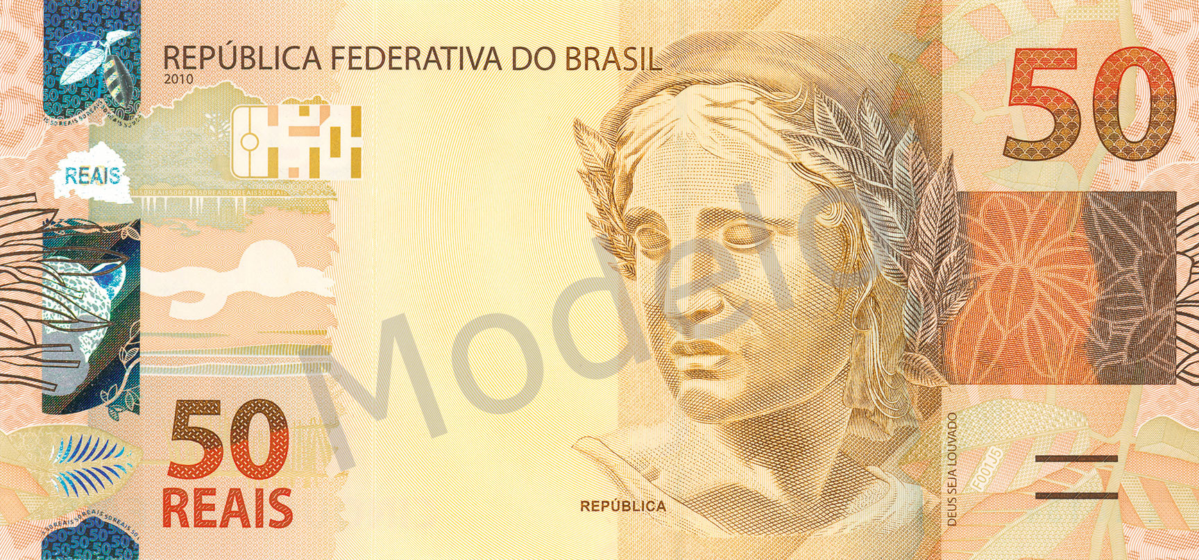 Actual size image of  Banknote of Brazilian real .