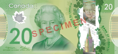 Actual size image of  Banknote of the Canadian .