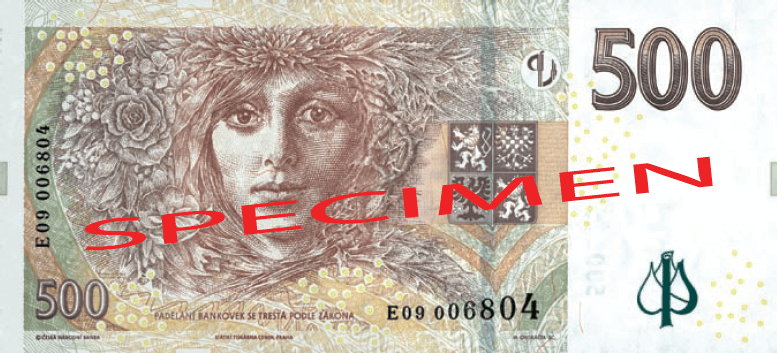 Actual size image of  Banknote of Czech koruna .