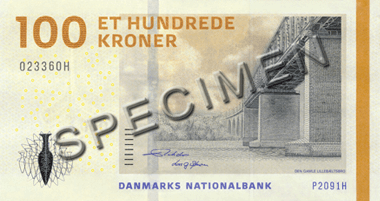 Actual size image of  Banknote of Danish krone .