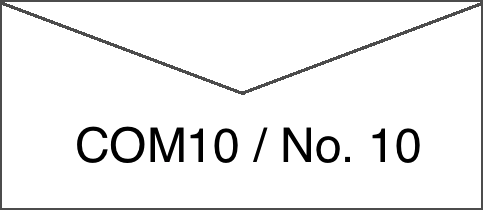 Actual size image of  COM10 (No. 10) Envelope .