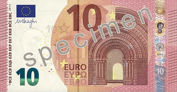 Actual size image of  10 Euro Note .