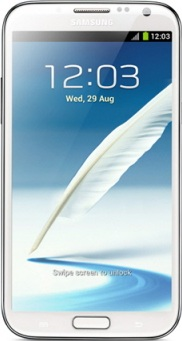 实际尺寸图像 Samsung Galaxy Note II 。