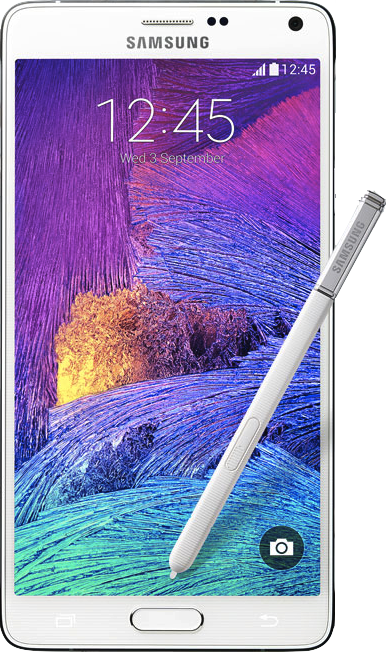 实际尺寸图像 Samsung Galaxy Note 4 。