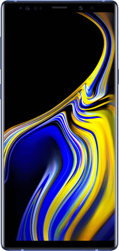 实际尺寸图像 Samsung Galaxy Note 9 。