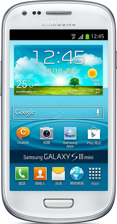 实际尺寸图像 Samsung Galaxy s3 mini 。