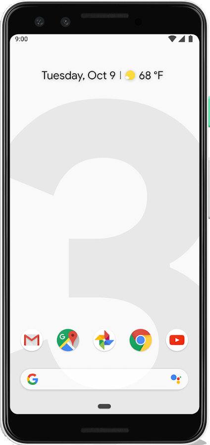 Actual size image of  Google Pixel 3 .