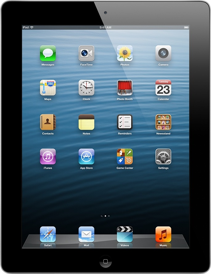 Actual size image of  iPad 4 / new iPad (Retina) .