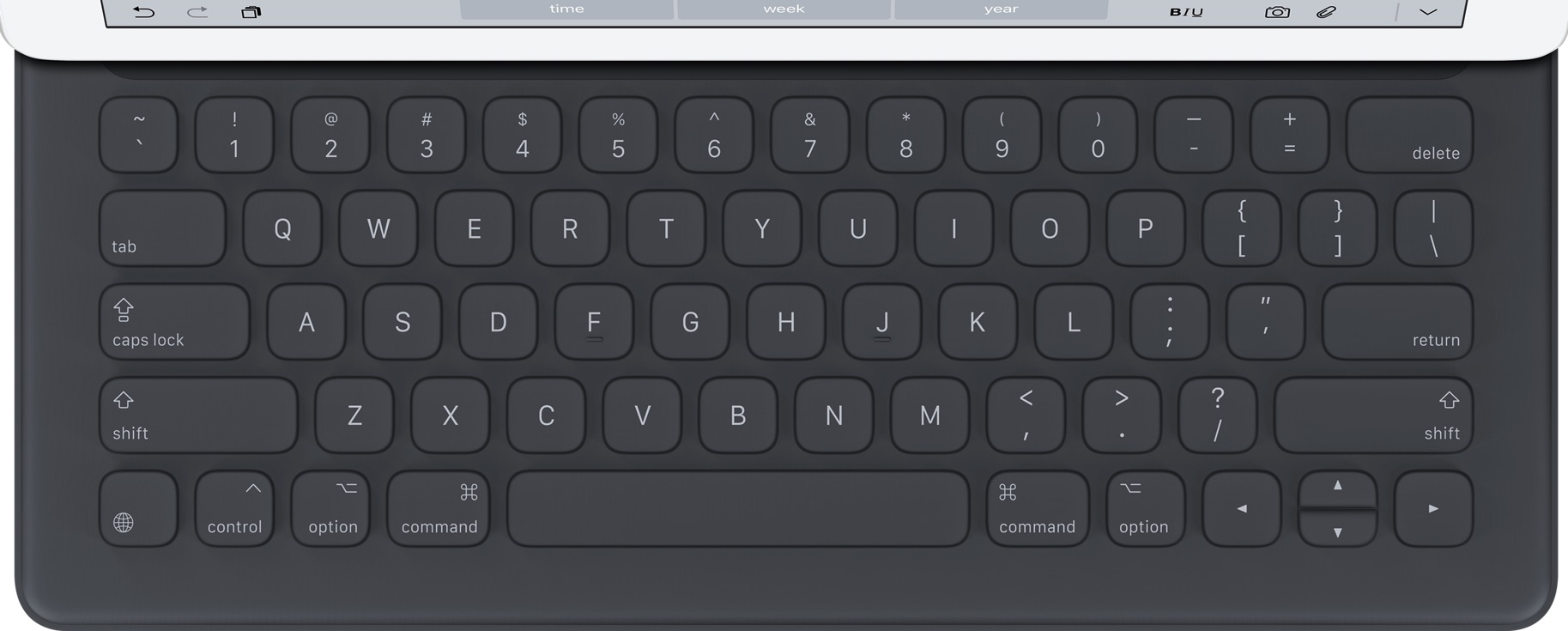 实际尺寸图像 iPad Smart Keyboard 。