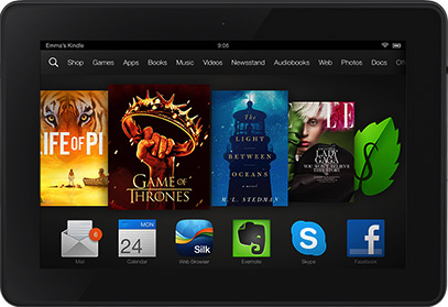 Actual size image of  Kindle Fire HDX .