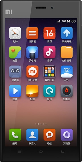 Actual size image of  xiaomi 3 .