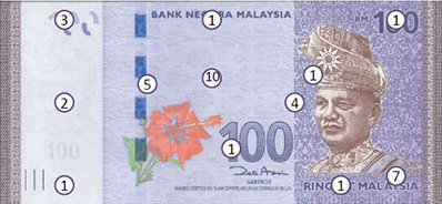 Actual size image of  Banknote of Malaysian ringgit .
