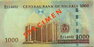 Actual size image of  Banknote of Nigerian naira .