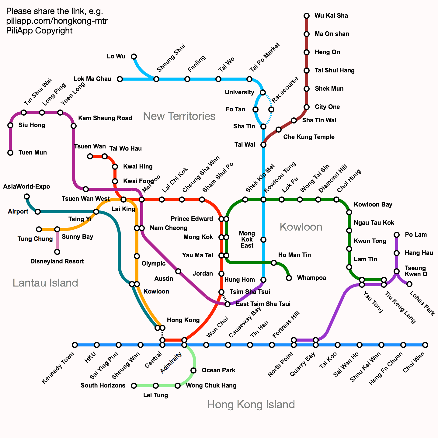 Hong Kong MTR route map and fare inquiry