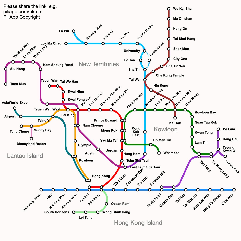 Map Of Hong Kong Subway.Hong Kong Mtr Route Map Fares And Journey Time
