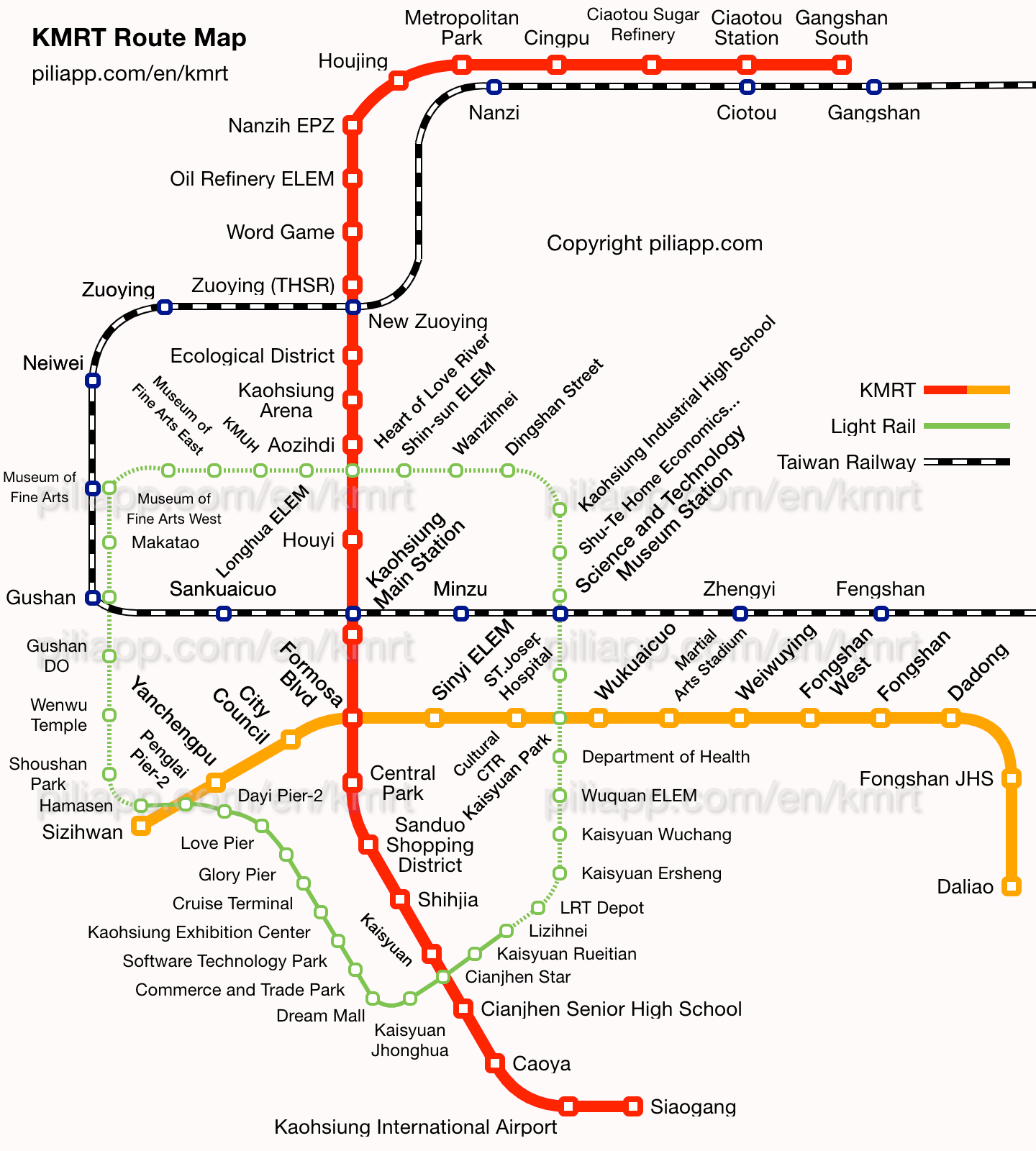 Aiport Icon Subway Map.Kaohsiung Mrt Route Map Fares And Journey Time